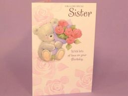 Sister Birthday Card Cute Bear Holding Rose Bouquet-C75