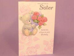 Sister Birthday Card Cute Bear Holding Rose Bouquet-C75