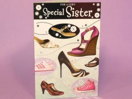 Sister Birthday Card Contemporary Fashion Shoes-C75