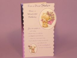 Sister Birthday Card Cute Bear & Mouse Holding Bouquet Embossed-C75