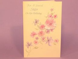 Sister Birthday Card Contemporary Floral 3D Jewelled-C75