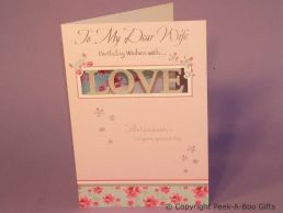 Wife Birthday Card Die Cut LOVE Foiled Embossed-C75
