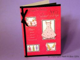 Wife Birthday Card 3D Dress & Shoes-Black Satin Bow & Ribbon-C75