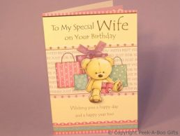 Wife Birthday Card 3D Bear & Presents-Lilac Satin Bow-Glitter-C75