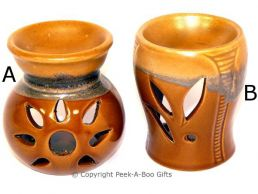 Stoneware Tan & Brown Wash Fragrance Oil Burner 8.5cm