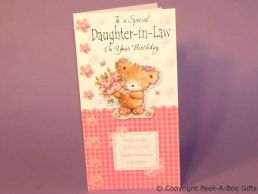 Daughter in Law Birthday Card 3D Bear Holding Flowers-C75S