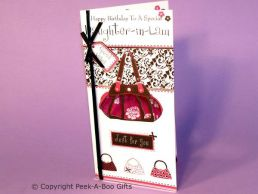 Daughter in Law Birthday Card 3 Fold Handbags with Bow & Ribbon-C75S