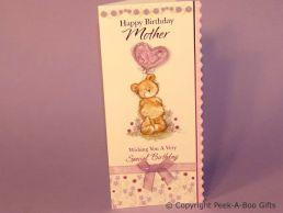 Mother Cute Birthday Card Bear & 3D Balloon with Ribbon Bow - C75S