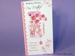 Mother Contemporary Birthday Card Embossed Bouquet with Pink Bow-C75S