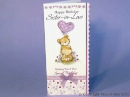 Sister in Law Birthday Card Bear & 3D Balloon with Ribbon Bow-C75S