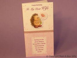 Wife Birthday Card 3D Hedgehog & Flower-Glitter-C75S