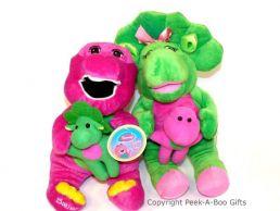 Barney & Bop Bop Dinosaur Sitting Soft Toys Holding Baby