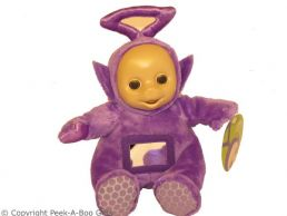 """Tinky Winky 11"""" Purple Teletubbies Activity Soft Toy by Tomy"""