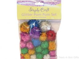 Assorted Glitter Craft Pom Pom 50 pack