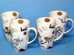 Set of 4 Coffee Bean Design Porcelain Mugs