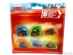 Character Erasers Disney Pixar Cars 6 pack Assorted