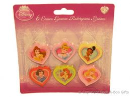 Character Erasers Disney Princesses 6 pack Assorted