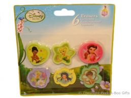Character Erasers Disney Fairies 6 pack Assorted