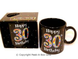 Happy 30th Birthday Pint/20floz Boxed Jumbo Gift Mug in Black
