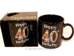 Happy 40th Birthday Pint/20floz Boxed Jumbo Gift Mug in Black