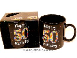 Happy 50th Birthday Pint/20floz Boxed Jumbo Gift Mug in Black