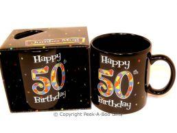 Happy 50th Birthday Pint/20floz Boxed Jumbo Gift Mug in Black