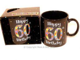 Happy 60th Birthday Pint/20floz Boxed Jumbo Gift Mug in Black