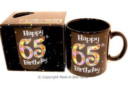 Happy 65th Birthday Pint/20floz Boxed Jumbo Gift Mug in Black