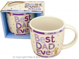 Best Dad Ever Fine Bone China Mug Letters & Bear Design
