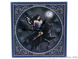 Dark Blue Fairy Riding Unicorn 29cm Picture Wall Clock by Lisa Parker