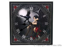 Dark Fairy with Raven 29cm Picture Wall Clock by Lisa Parker