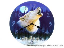 Howling Wolf & Moon 30cm Round Quartz Picture Wall Clock