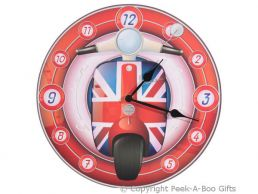 Union Jack Scooter 30cm Round Quartz Picture Wall Clock by Ted Smith