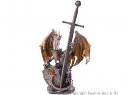Dark Legends Fire Dragon Figurine/Sculpture with Shield & Sword Large