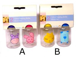 4oz/125ml Twin Pack Round Decorated 1st Steps Baby Feeding Bottles
