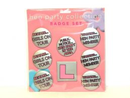 8 pack Hen Party Collection Humorous Badge Set