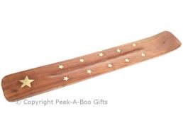 Wood Incense Stick Holder & Ash Catcher Stars Brass Inlay