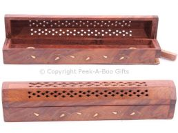 Wood Box Incense Burner & Holder Chest 31cm with Floral Brass Inlay