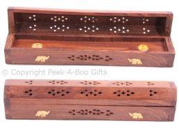 Wood Box Incense Burner & Holder Chest 31cm Lucky Elephant Brass Inlay