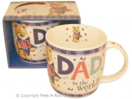 No1 Dad in the World with Bear Fine Bone China Mug
