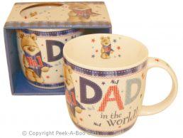 No1 Dad in the World with Bear Fine Bone China Mug