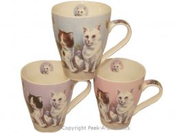 Cat Fine Bone China Mug Tulip Shaped 3 Assorted by Leonardo
