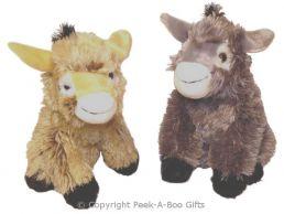 Donkey Sitting Long Pile Soft Toy 11''