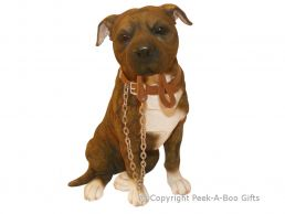 Sitting Brown Staffy-Staffordshire Terrier Walkies 7'' Figurine