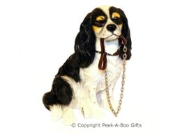 Sitting Cavalier King Charles Spaniel Walkies 6.5'' Dog Figurine