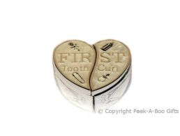 1st Tooth & Curl Heart Shaped Box Ivory Enamel & Silver Plated