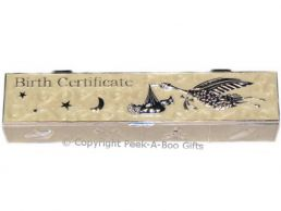 Birth Certificate Box-Holder Ivory Enamel & Silver Plated