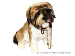 Sitting Brown Shih Tzu Walkies 6'' Dog Figurine by Leonardo
