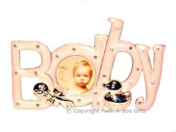 Photo Frame ''Baby'' in a Word Silver Plated & Pink Enamel