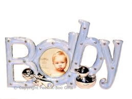 Photo Frame ''Baby'' in a Word Silver Plated & Blue Enamel